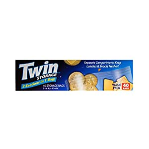 Twin Storage Bags for Lunches and Snacks, Double Section, Zipper Closure, Travel Friendly 1 Box - 40 Count