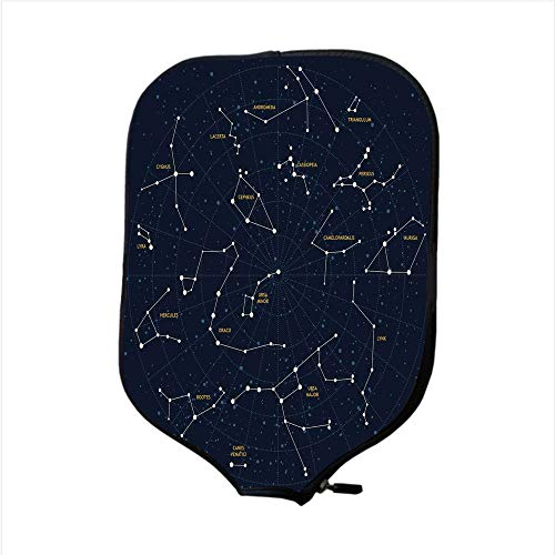 iPrint Neoprene Pickleball Paddle Racket Cover Case,Constellation,Sky Map Andromeda Lacerta Cygnus Lyra Hercules Draco Bootes Lynx,Dark Blue Yellow White,Fit for Most Rackets - Protect Your Paddle ()