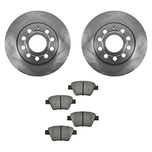Rear Ceramic Brake Pads & 2 Discs Rotors Set Kit for VW Volkswagen Jetta Golf