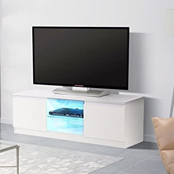 Mecor LED TV Stand Unit Cabinet With Glass Shelves 2 Doors Storage Console  Furniture, White