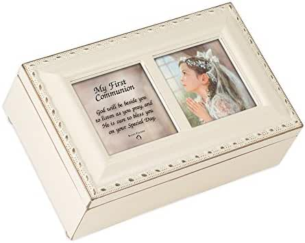 First Communion Girl Petite Ivory Rosary Music Box Plays Tune Ave Maria