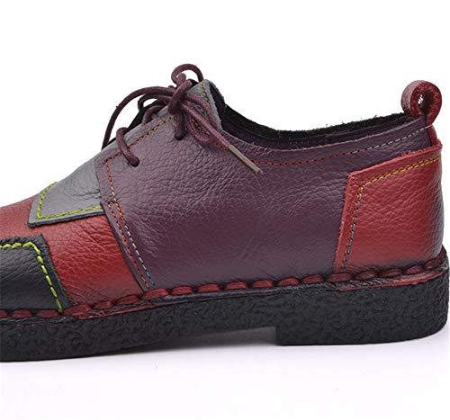 FLYRCX de bajo Zapatos se de Las Zapatos Adapta Que a Casuales Color señoras Trabajo Plataforma Suaves a Inferiores de Zapatos Cuero Zapatos Antideslizantes de tacón Mano Hecha cómodos red Correas q1qTvrwp