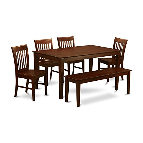 Dining Room Mahogany Bench - East West Furniture CANO6C-MAH-W and 4 Kitchen Chairs and Bench Dining Table, Wood Seat, Mahogany Finish