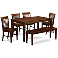 East West Furniture CANO6C-MAH-W 6-Piece Dining Table Set