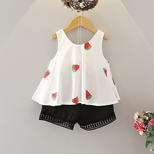LOliSWan Girls Summer Outfit Clothes Floral Vest T-Shirt+Shorts Pants (White, 2-3 Years)