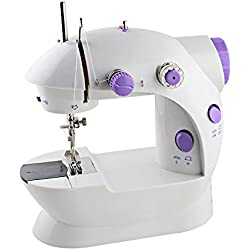 LIANTRAL Mini Sewing Machine, Portable Electric Crafting Mending Machine 2-Speed Double Thread with Foot Pedal for Household Travel Beginner
