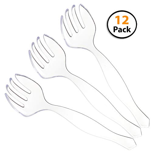 12 Pack | Disposable Plastic Serving Forks | Heavy Duty Large Utensils | Clear