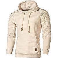 Ratoop Men's Hoodies, Solid Casual Pullover Tops High Low Sweatshirt Pleated Long Sleeve T-Shirt Hooded Blouse
