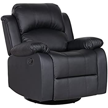 Bonded Leather Rocker And Swivel Recliner Living Room Chair (Black)
