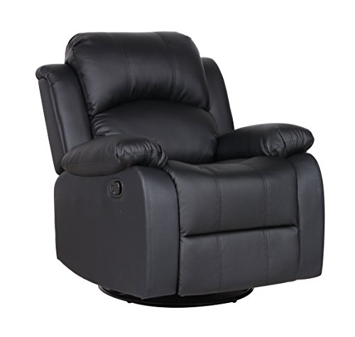 Bonded Leather Rocker and Swivel Recliner Living Room Chair (Black) - Black Leather Recliner Rocker