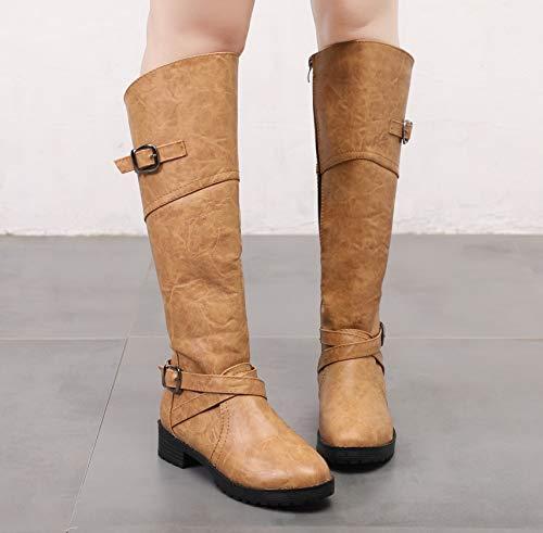 Frauen 2018 Amerikanischen Herbst Stiefel Hohe Und Größe Stiefel Martin Europäischen Stiefel Winter Große brown Und Dark LIANGXIE BwxqdUzfB