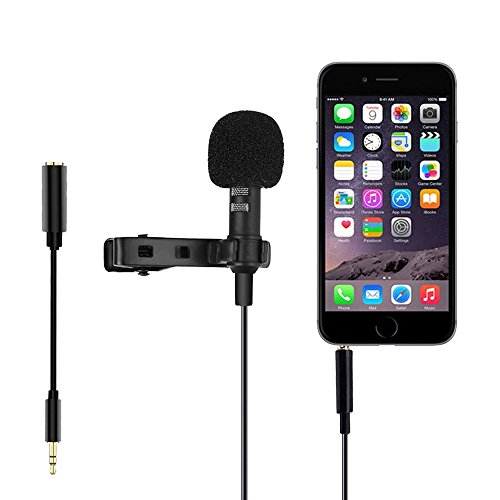 Lavalier Microphone for Computer Smartphone DSLR Camera, Clip-on Omnidirectional Condenser Lapel Mic 3.5mm for Laptop, iPad, iPhone Samsung Android, Recording Youtube, Live Broadcast, Interview by SOLIDPIN