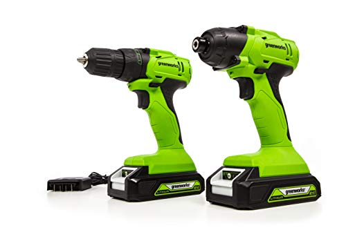 Greenworks CK24B2210 24V Drive Drill Impact Driver Combo Kit, (2) 2Ah Batteries and Charger Included, Green (Greenworks 24v Drill Driver And Impact Driver Combo)