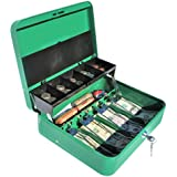 Cash Box with Money Tray | Petty Cash Lock Box | Tiered Design with Cash Tray for Bills and Coins | Portable Money Box | Ideal for Cash Registers and Petty Cash | Secure Lock with 2 Keys | Scout Green