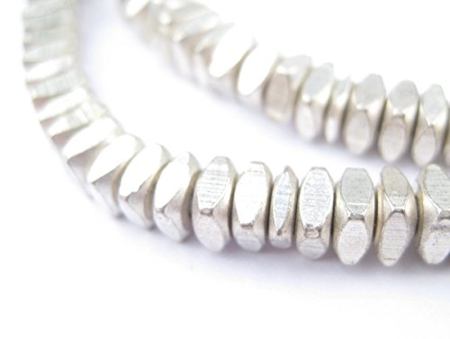 Metal Faceted Square Beads - Full Strand of Ethnic Spacer Sliced Heishi Beads - The Bead Chest (6mm, Silver) - Full Spacer