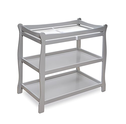 Badger Basket Sleigh Style Baby Changing Table, Grey by Badger Basket