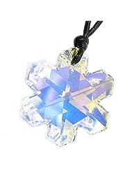 Swarovski Crystal Clear Ab Snowflake Pendant 25mm Black Leather 1mm Choker Necklace 14'' 16'' 18'' 20'' 22'' 24'' Adjustable