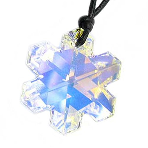 Leather Choker Necklace with Swarovski Elements Crystal Clear AB Snowflake Pendant, 14