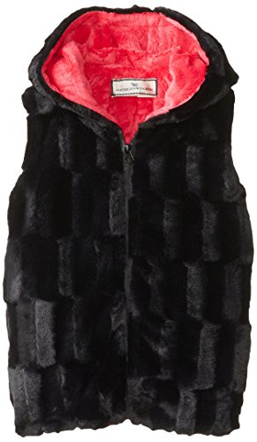 Widgeon Big Girls'  Hooded Zip Vest, Black Sheared Mink, (Widgeon Saras Prints)