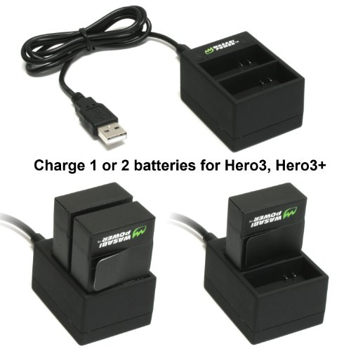 Wasabi Power Battery (2-Pack) and Dual Charger for GoPro Hero3, Hero3+ and GoPro AHDBT-201, AHDBT-301, AHDBT-302, AHBBP-301, ACARC-001, AWALC-001 (with Car and US Plug)