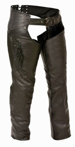 (WOMEN'S MOTORCYCLE MOTORBIKE LEATHER CHAP BLACK EMBROIDERY REFLECTIVE BLACK NEW (XL))