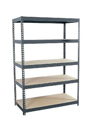 "Sandusky Lee CR4824 Gray Steel Boltless Rivet Particle Board Shelving, 72"" Height x 48"" Width x 24"" Depth, 5 Shelves"