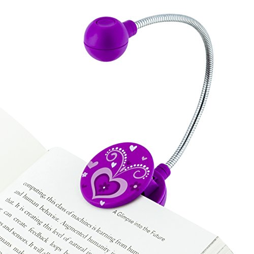 WITHit Clip On Book Light -Violet Heart- LED Reading Light for Books and eBooks, Reduced Glare, Portable and Lightweight, Cute Bookmark Light for Kids and Adults, Batteries Included (Purple Book Light)