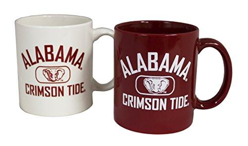 NCAA Alabama Crimson Tide 11 oz Alternating Team Color Ceramic Coffee Mug 2pk