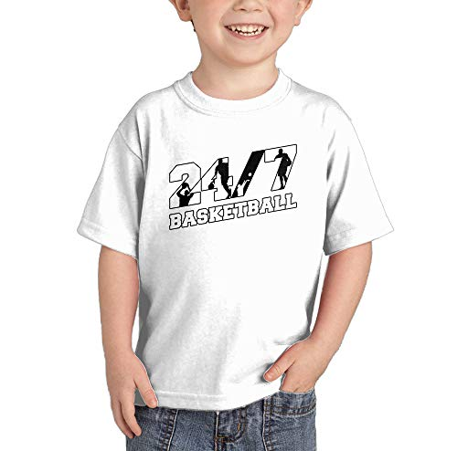 HAASE UNLIMITED 24/7 Basketball - Future Athlete Infant/Toddler Cotton Jersey T-Shirt (White, 5T)