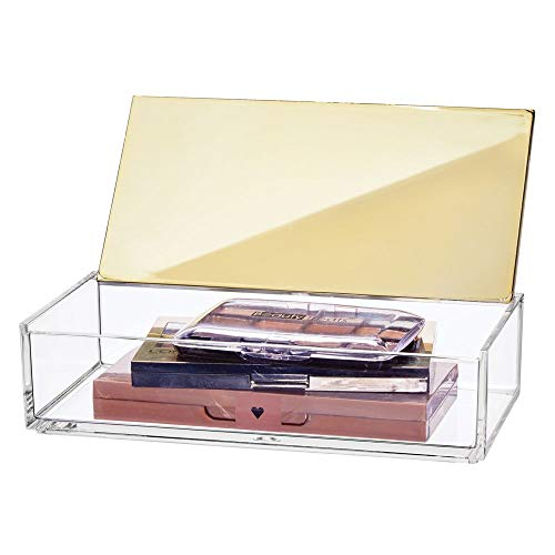 mDesign Small Makeup Organizer Box with Lid for Bathroom Vanity Countertops, Cabinet - Store Makeup Brushes, Eye Shadow Palettes, Lipstick, Lip Gloss, Blush, Jewelry - Plastic, Clear/Soft Brass