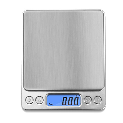 NEXT-SHINE Digital Kitchen Scale 500 x 0.01 Gram, Pocket Size with PCS Tare Switch Weighing Units Function, Stainless Steel Platform 500 Digital Pocket