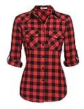 Zeagoo Womens Plaid Shirt, Roll up Sleeve Casual Boyfriend Button Down Tartan Flannel Shirt,Red,Small