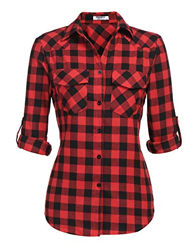 Zeagoo Womens Plaid Shirt, Roll up Sleeve Casual Boyfriend Button Down Tartan Flannel Shirt,Red,Medium ()