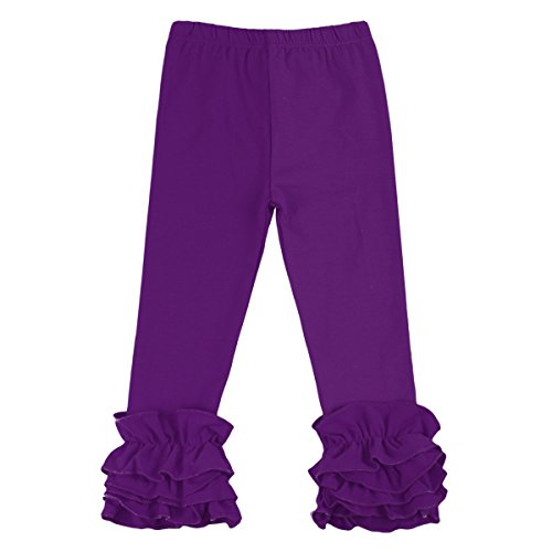 IWEMEK Little Girl's Double Icing Ruffle Leggings Pants Cotton Tights Active Trousers