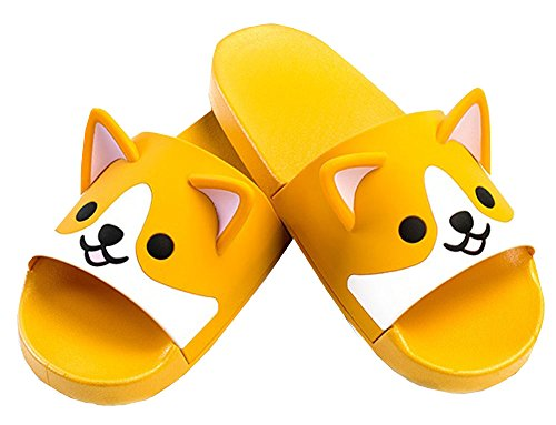 FUYU Women's Cute Cartoon Animal Ears Corgi Non-Slip Shower Sandals Bathroom Soft Slipper Husky Couples Shoes from FUYU