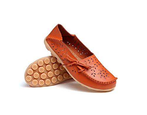 Verocara Kvinna Bekväm Läder Urholka Snörning Tillfälliga Platta Skor Kör Loafers Apelsin
