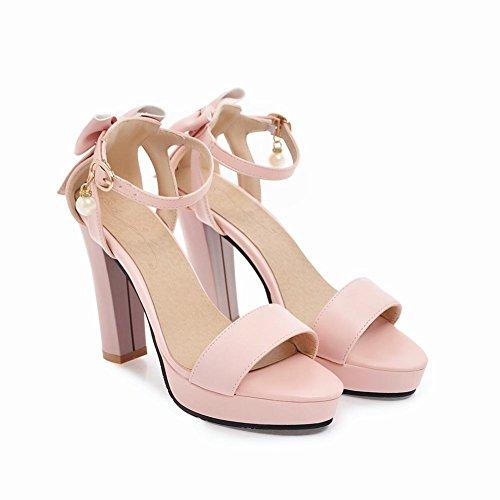 Back Mee Sandals High Pink Heel Bow Sweet Shoes Women's BRrIwSqFB