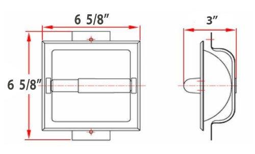 WholesalePlumbing Brushed Nickel Recessed Toilet Paper Holder - Includes Rear Mounting Bracket