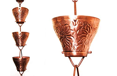 (U-nitt 8-1/2 feet Pure Copper Rain Chain: Embossed Sunflower 8.5 ft Length #5501)