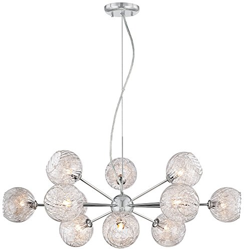 Possini Euro Wired 32″ Wide Glass and Chrome Chandelier