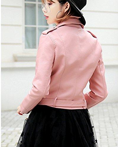 Jacket Courte Classique PU Manteaux Veste Cuir Veste Pink Femme Aviateur 4aRwOqO