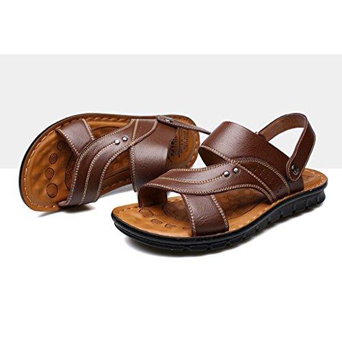 Wear Strato in Pelle Sandali Esterni Estivo Primo Brown Uso Spiaggia da Sandali da Pelle Doppio in Uomo a Scarpe Semplice 1qwB58q