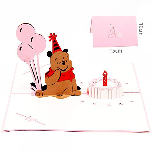 (Queeni 3D Pop Up Creative Greeting Cards Handmade Thank You Thanksgiving Happy Birthday Post Card (Winnie the)