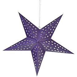 "Quasimoon PaperLanternStore.com 24"" Solid Purple Cut-Out Paper Star Lantern, Hanging Decoration"
