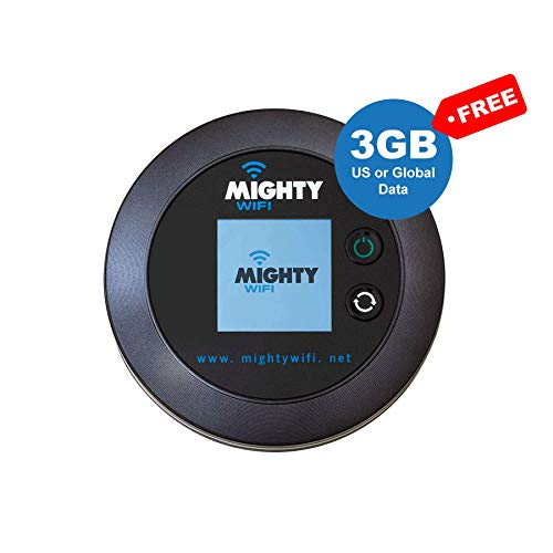 MightyWifi Worldwide high Speed Hotspot with US or Global 3GB Data for 30 Days, Pocket Mifi, Personal, Reliable, Wireless Internet, Router, No Sim Card, No Roaming, Home, Travel (Best Network For Data Roaming)