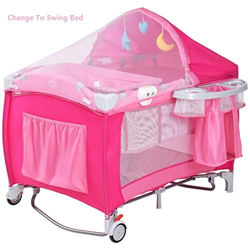 LHONE Portable Foldable Travel Baby Crib Playpen Baby 3 in One Crib Playpen Travel Playpen Changer w/Mosquito Net and Carring Bag (Pink) by LHONE (Image #2)