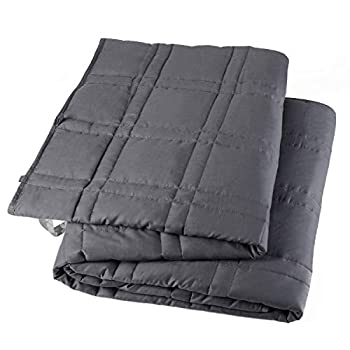 Image of Double Stitched Weighted Blanket for Adult,100% Cotton Fabric,Real Glass Beads Fill(48x72 in,10LB) Degerde B083PTBHHS Weighted Blankets