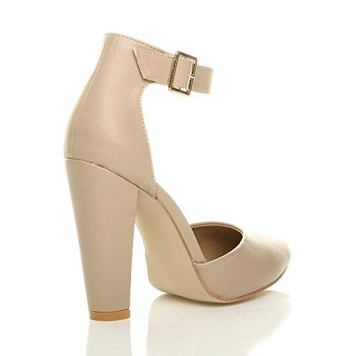 Femmes Large Chaussures Pointu Talon Beige Escarpins Lanière Boucle Pointure Haute Mat rU6q0w5r