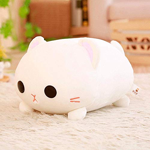 Kawaii White Cat Plush Pillow Soft Stuffed Animal Play Doll Baby Hugging Toy Sleeping Bolster Pet Throw Pillow Bed Sofa Nap Cushion Nursery Office Home Decor Gift for Kids Girlfriend