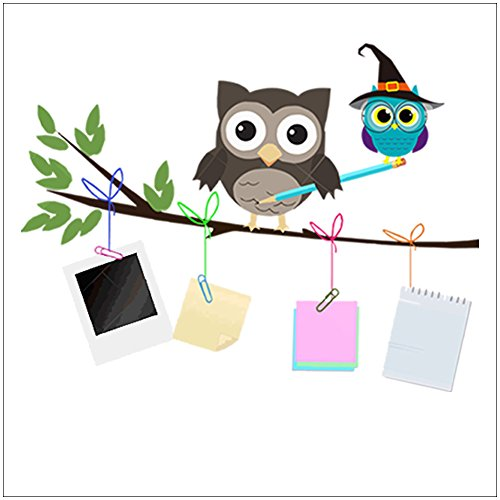Amaonm Removable Colorful Cute Cartoon Owls On the Tree Branches & Stationery Notes Wall Decals DIY home art Decor Wall Stickers Murals for Nursery Room Bedroom Living room (Store Decorations)